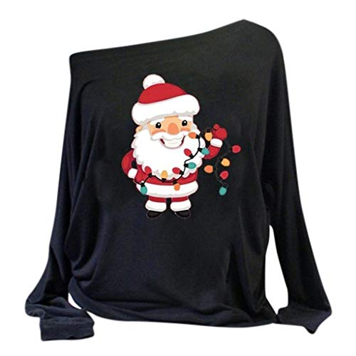 Merry Christmas Sweatshirt Women's Off Shoulder Loose Pullover Sweater Long Sleeve Knit Jumper Oversized Tunics Top