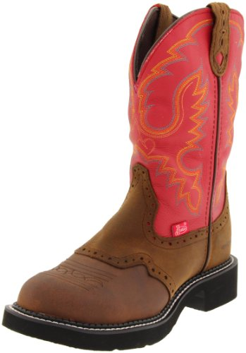 """Justin Boots Women's Gypsy Collection 11"""" Waterproof Boot Fashion Round Toe Black Rubber Outsole,Bay Apache with Perfed Saddle Vamp/Red Cow with Diamond Cut Pull Strap,10.5 B US"""