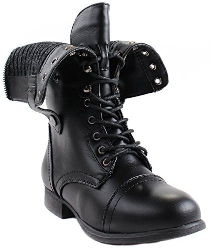 Pour Toujours Bottes De Style Militaire En Cuir Faux Beyonce-11 Pour Femmes Avec Des Arbres Pliables Et Tissu À Lintérieur Noir