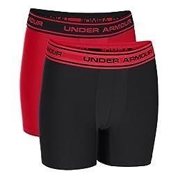 Under Armour Boys\' Original Series Boxerjock 2-Pack, Black/Red, Youth Medium