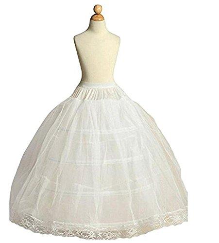 Dobelove Girls 3 Hoops Full Slip Crinoline Petticoat Skirt (OneSize, White)