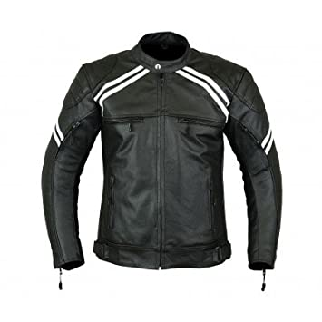 LJ-3022 - Chaqueta deportiva de motocicleta para hombre - Cuero y protecciones - Alta protección - Color negro y blanco: Amazon.es: Coche y moto
