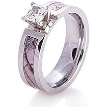 NaNa Chic Jewelry Women 5mm Pink Titanium Ring Cubic Zirconia Camo Engagement Wedding Bands Polished Finish Comfort Fit
