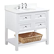 New Yorker 36-inch Bathroom Vanity (Quartz/White): Includes a Quartz Countertop, a White Cabinet, Soft Close Drawers, and a Ceramic Sink