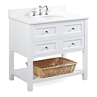 New Yorker 36-inch Bathroom Vanity (Quartz/White): Includes a Quartz Countertop, a White Cabinet, Soft Close Drawers, and a Ceramic Sink - High-end furniture-grade construction. Made with 100% solid wood and plywood only! Absolutely no MDF or cheap particle board anywhere in this product Stunning quartz countertop comes pre-installed on the cabinet Soft-close mechanism on all drawers; All drawers are dovetailed and made with 100% solid wood - bathroom-vanities, bathroom-fixtures-hardware, bathroom - 41FdSihO65L. SS400  -
