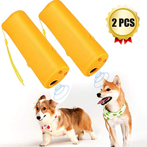 【New Upgrade】 Handheld Ultrasonic Dog Repeller and Trainer Device, 3 in 1 Portable Anti Barking Stop Bark Controller with LED Flashlight, Pet Training Device- 2Pack(Yellow)