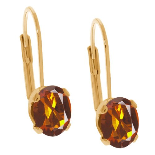 - 0.80 Ct Oval Orange Red Madeira Citrine 14K Yellow Gold Earrings