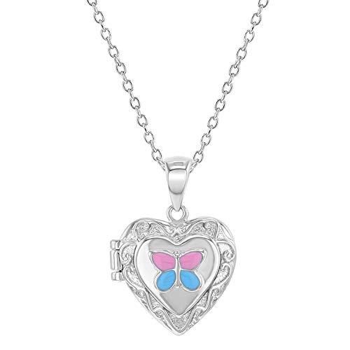 """925 Sterling Silver Enamel Butterfly Heart Girls Locket Necklace Pendant 16"""""""