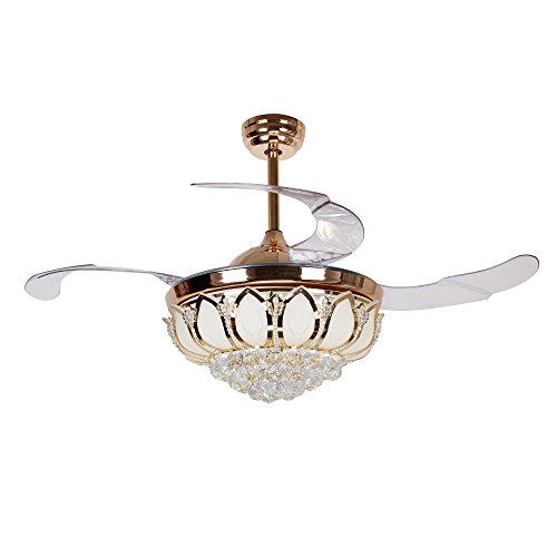 French White Fan Blades - Gold Ceiling Fans with Lights and Remote Control 42 Inch Vintage Retractable Blades Fandelier, 4000K Cool White LED, for Indoor Living Room