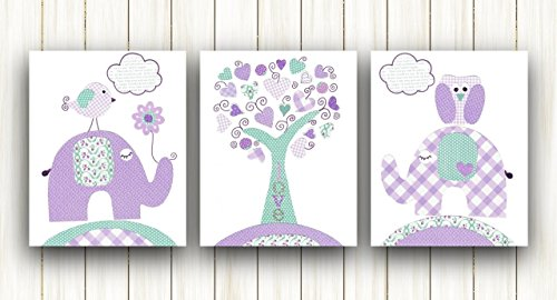Purple and Turquoise Kids Room Decor - Baby Girl Nursery Art - Set of three prints - Elephant Tree Birds