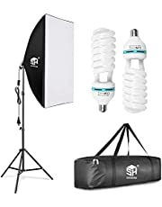 SH 150w Softbox Lighting Kit Photography Video Studio Lights 20x28inch Professional Portable Continuous Lighting Equipment E27 Socket 5500k Bulb Fashion Filming.