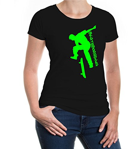 Girlie T-Shirt Skateboarding-XL-Black-Neongreen