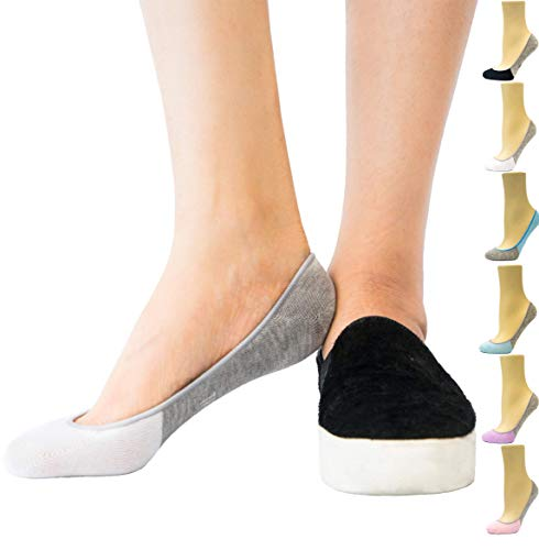 Thirty48 Women's No Show Loafer Socks, Boat Shoe Liners with Non Slip Grip (One Size (6-9), Gray & White(6 Pairs))
