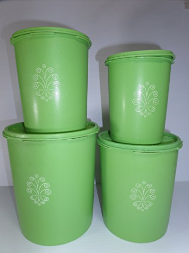 (Set of 4 Vintage Tupperware Apple Green Servalier Canisters with Sunburst Lids)
