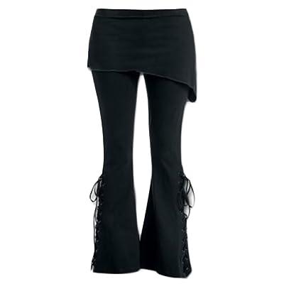 MLG Womens High Waist Flower Printed Bell Bottom Wide Leg Long Pant
