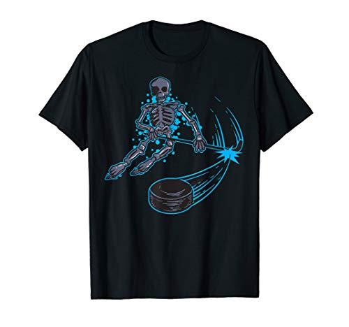 Funny Skeleton Playing Ice Hockey T-Shirt - Cool Skull -