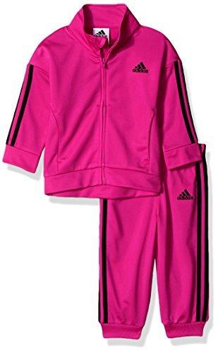 adidas Baby Girls Zip Jacket and Pant Set, Magenta, 12 Months