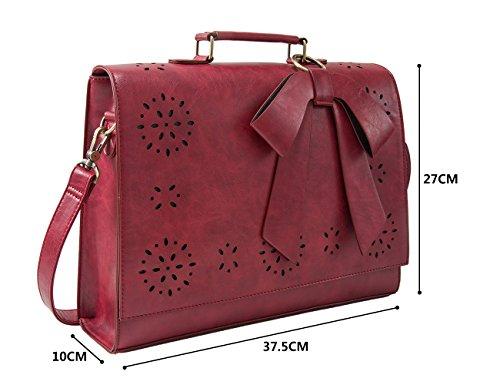 Valigetta a Pollici 14 Borsa Donna Ufficio da rosso Vintage per Tracolla Messenger ECOSUSI Laptop Borsa FZqwPS