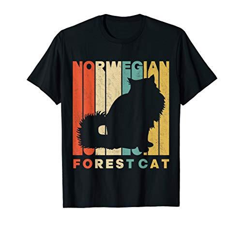 Vintage Retro Norwegian Forest Cat Silhouette T-Shirt