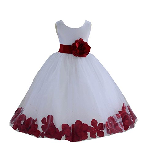 ekidsbridal Wedding Pageant Flower Petals Girl White Dress with Bow Tie Sash 302a 4