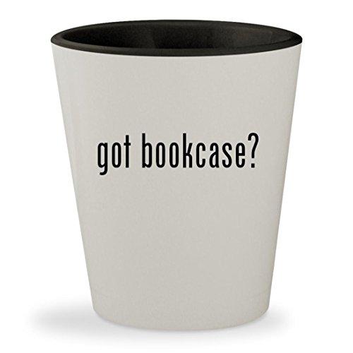 got bookcase? - White Outer & Black Inner Ceramic 1.5oz Shot
