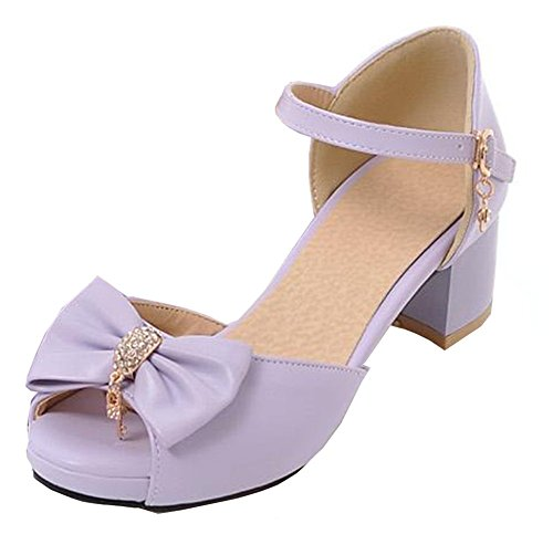 Easemax Womens Sweet Bows Mid Chunky Heel Ankle Buckle Strap Peep Toe Platform Sandals With Pendants Purple clf4l