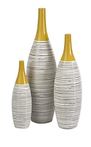 IMAX 11217-3 Andean Multi Glaze Vases [Set of 3] - Fine Ceramic Vases with Yellow Glaze, Hand-Painted Neutral Stripes, Home Decor Accessories (Yellow And Vases Gray)