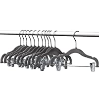 Home-it 12 PACK baby hangers with clips GRAY baby Clothes Hangers Velvet Hangers use for skirt hangers Clothes Hanger pants hangers Ultra Thin No Slip kids hangers