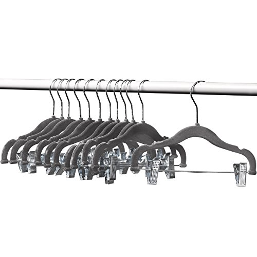 [Home-it 12 PACK baby hangers with clips GRAY baby Clothes Hangers Velvet Hangers use for skirt hangers Clothes Hanger pants hangers Ultra Thin No Slip kids hangers] (Childrens Pant Hangers)
