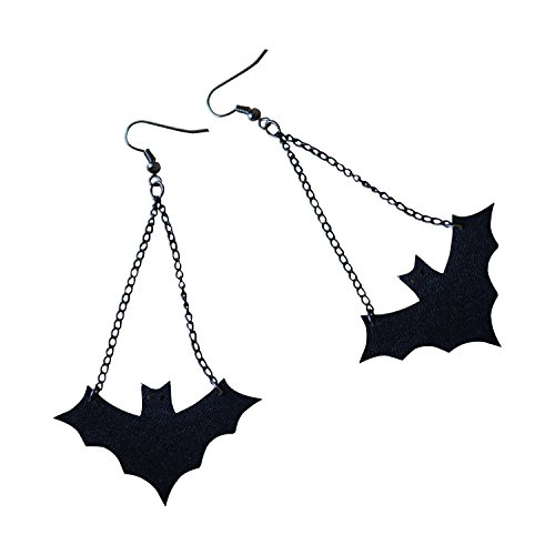 (NON ROCK Halloween Decor Earrings Punk Rock Gothic Fashion Vintage Black Vampire Bat Wire Dangling)