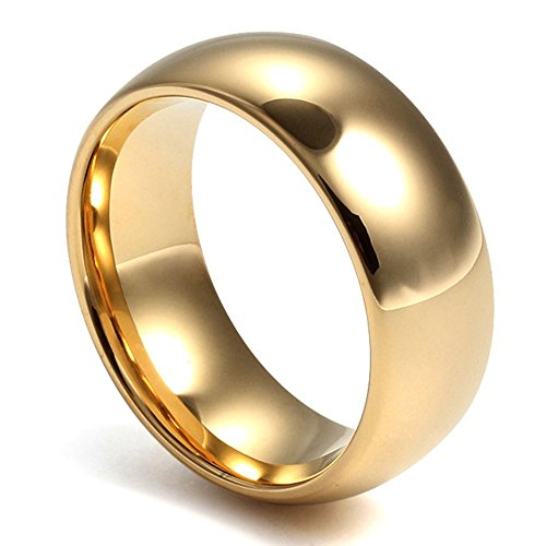 Mens Classical Tungsten Ring for Promise Engagement Plain Wedding Band Ring,Gold,8mm Width,Size 8