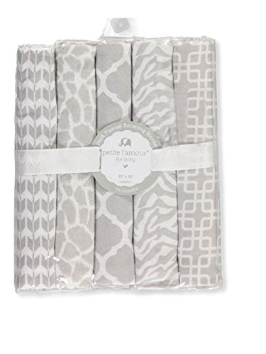 Petite L'amour 5-Pack Flannel Receiving Blankets - Ivory, one ()