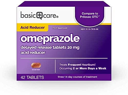 Amazon Basic Care Omeprazole Delayed Release Tablets 20 mg  Acid Reducer, 42 Count