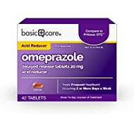 Basic Care Omeprazole Delayed Release Tablets 20 mg, Treats Frequent Heartburn, 42 Count