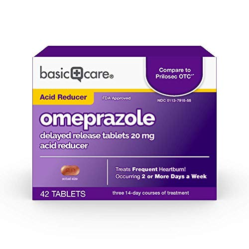 Basic Care Omeprazole Delayed Release Tablets 20 mg, Acid Reducer, 42 Count (Best Time Of Day To Take Nexium Tablets)