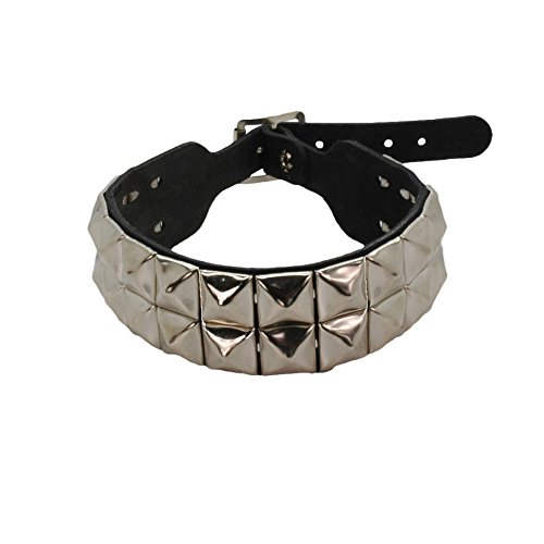 Bullet 69 Black 2 Row Pyramid Stud Leather Choker ()
