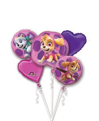 Paw Patrol Girls Pup Skye and Everest Foil Balloons Birthday Party Supplies (5 Piece -