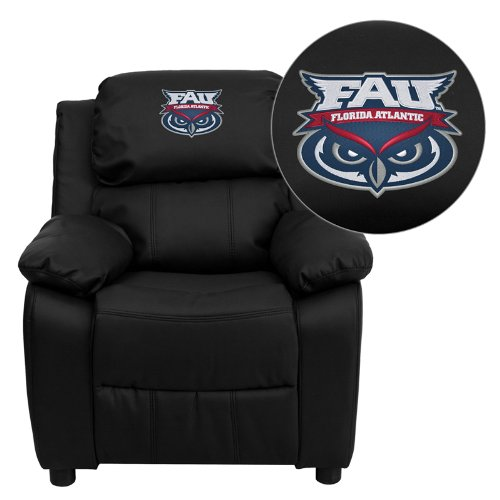 Flash Furniture Florida Atlantic University Owls Embroidered Black Leather Kids Recliner with Storage Arms ()