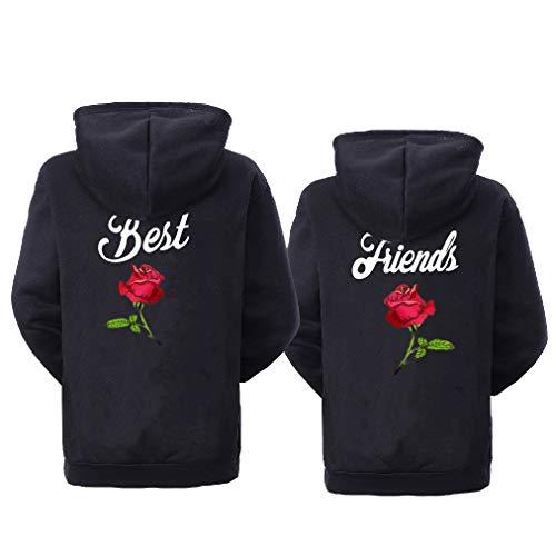 Soul Couple BFF Hoodies for 2 Girls Matching Sweaters for Best Friends Besties Hoodies Black
