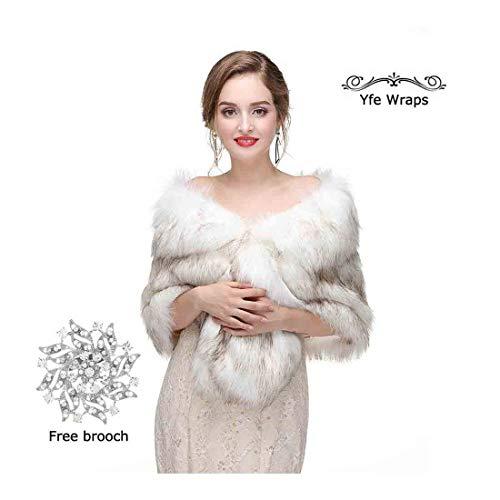 Yfe Women's Faux Fur Wraps and Shawls Wedding Fur Stole Shrug 1920 Faux Fur Scarf Coat (White) ()
