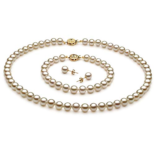 (White 6.5-7mm AA Quality Japanese Akoya Cultured Pearl Set for Women-16 in Chocker Length)