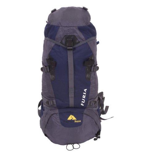 Guerrilla Packs – Furia – Blue – 65l Internal Frame Fully Adjustable Hiking Travel Backpack – Sport Backpack – Blue and Dark Gray Backpack, Outdoor Stuffs