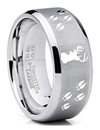 Metal Masters Co. 9MM Deer Track Tungsten Ring Wedding Band, Outdoor Jewelry, Men's Hunting Ring