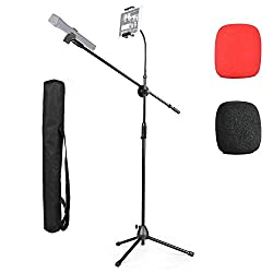 Microphone Tripod Stand 2 In 1 Mic Boom Adjustable Portable Stand With Phone Ipad Stand 2 Pics Foam Windscreen Carrying Bag