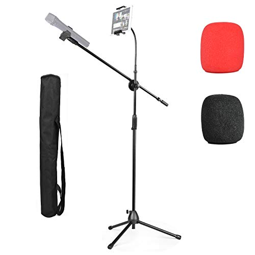 Microphone Tripod Stand, 2 in 1 Mic Boom Adjustable Portable Stand with Phone/iPad Stand, 2 Pics Foam Windscreen, Carrying Bag
