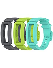 EEweca 3-Pack Bands Compatible with Fitbit Ace 2 Strap for Kids (Gray, Green, Teal)