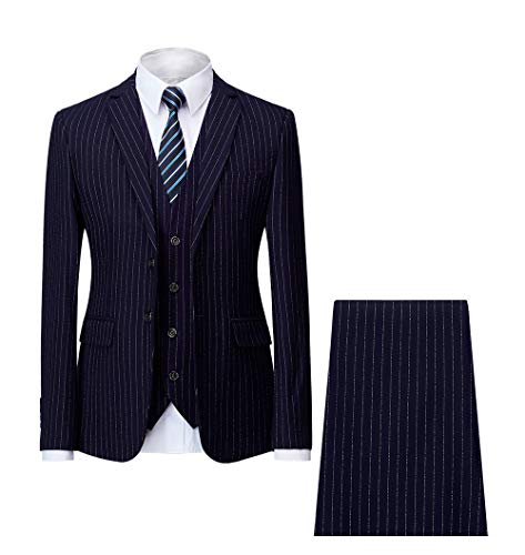 MAGE MALE Men's Pinstripe 3 Piece Suit Slim Fit Elegant Single Breasted Business Wedding Party Blazer Vest& Pants Set ()