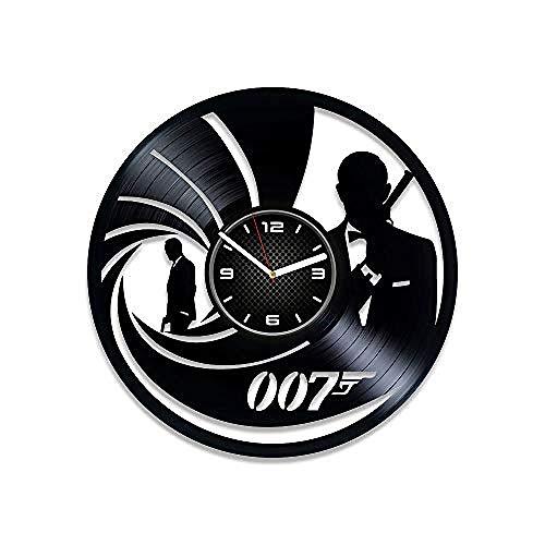 SKGZT Wall Clocks James Bond Vinyl Record Clock 007 Men's Gift Wall Clock Gift James Bond Clock Birthday Gift James Bond Wall Clock ()