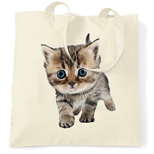 Canvas Tote Bag Cute Kitten Cat Photograph Cat Lovers Prowling Blue Eyes Adorable Sweet Image Kitty Birthday Present Idea Shopping Tote Bag Reusable Ecofriendly Shopping Bag