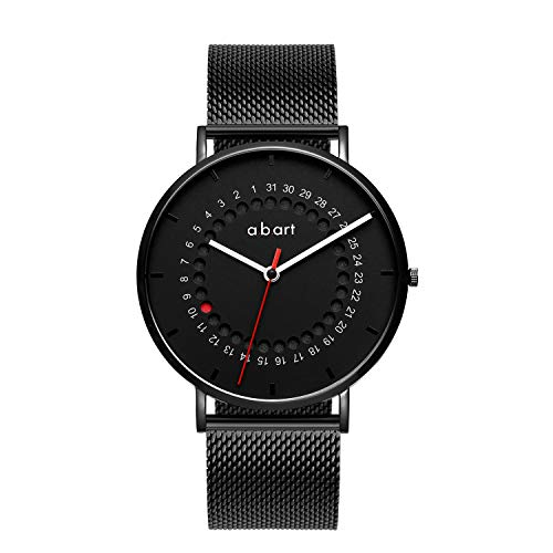 a.b.art Watches for Men FD41 Analog Red Dotted Black Dial New Design Calendar Mens Watches - Hr 24 Dial